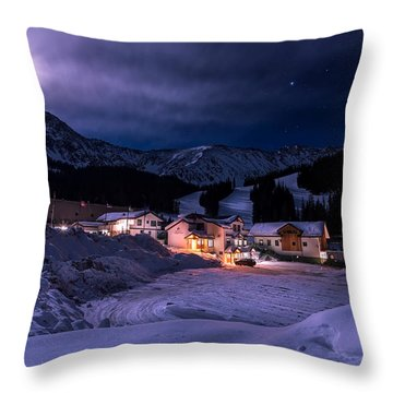 Arapahoe Basin Full Moon Night Throw Pillow