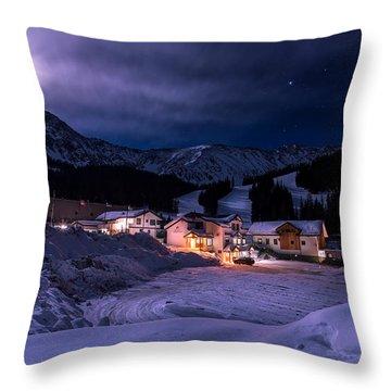 Arapahoe Basin Full Moon Night Throw Pillow by Michael J Bauer