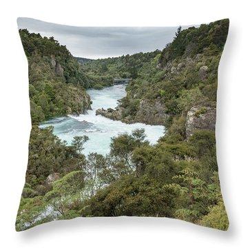 Throw Pillow featuring the photograph Aratiatia Rapids by Gary Eason