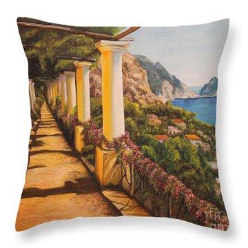 Arbor Walk In Capri Throw Pillow by Charlotte Blanchard
