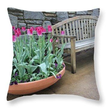 Arboretum Bench  Throw Pillow