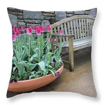 Arboretum Bench  Throw Pillow