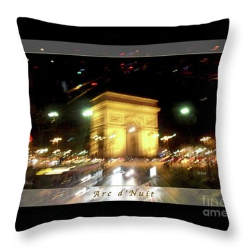 Arc De Triomphe By Bus Tour Greeting Card Poster V1 Throw Pillow by Felipe Adan Lerma