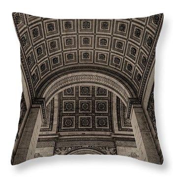 Throw Pillow featuring the photograph Arc De Triomphe Interior by Nigel Fletcher-Jones