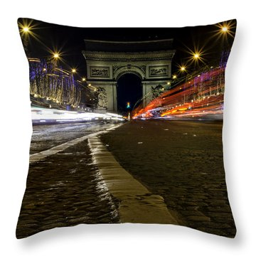 Arc D'triumph With Stripes Throw Pillow