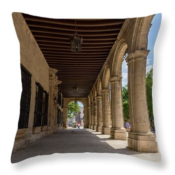 Arcade Of The Palacio Del Segundo Cabo - Habana, Cuba Throw Pillow