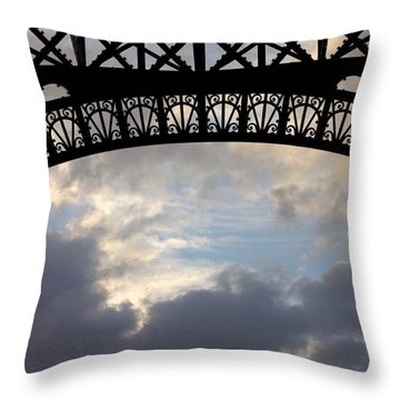Throw Pillow featuring the photograph Arch At The Eiffel Tower by Heidi Hermes