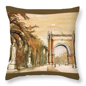 Throw Pillow featuring the painting Arch- Barcelona, Spain by Ryan Fox