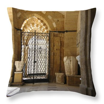 Arch Of Public Library Brindisi Italy Throw Pillow