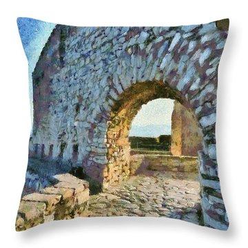 Arch On Palamidi Castle Throw Pillow