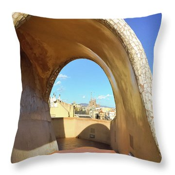 Throw Pillow featuring the photograph Arch On The Rooftop Of The Casa Mila by Colleen Kammerer
