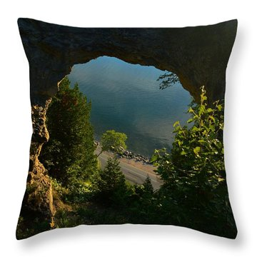 Arch Rock In The Morning Throw Pillow