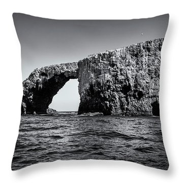 Throw Pillow featuring the photograph Arch Rock Three In Black And White by Endre Balogh