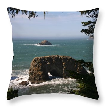 Arch Rock View Throw Pillow by Marie Neder