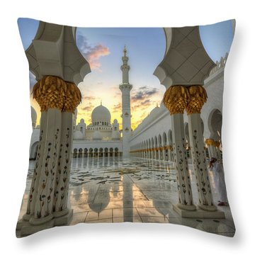 Arch Sunset Temple Throw Pillow