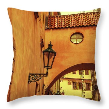 Throw Pillow featuring the photograph Arch Way In Old Town. Series Golden Prague by Jenny Rainbow