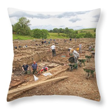 Archaeologists At Work At Roman Vindolanda Throw Pillow