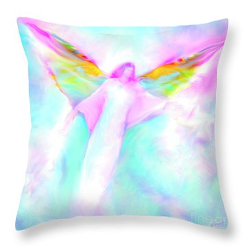 Archangel Gabriel In Flight Throw Pillow