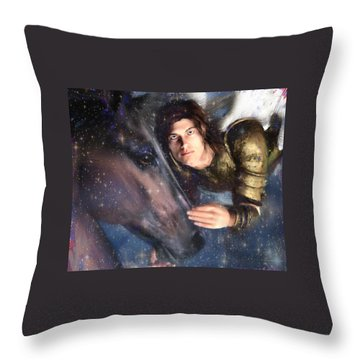 Throw Pillow featuring the painting Archangel Michael by Suzanne Silvir