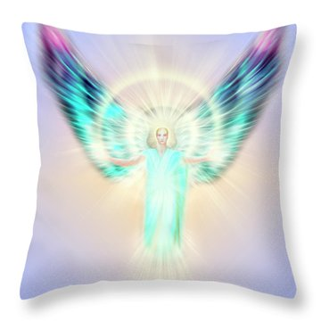 Archangel Uriel - Pastel Throw Pillow