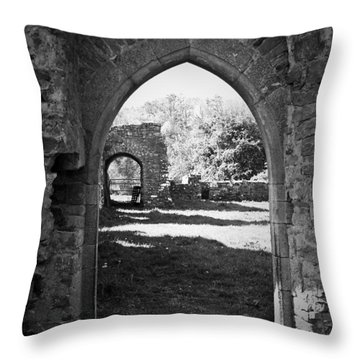 Arched Door At Ballybeg Priory In Buttevant Ireland Throw Pillow by Teresa Mucha
