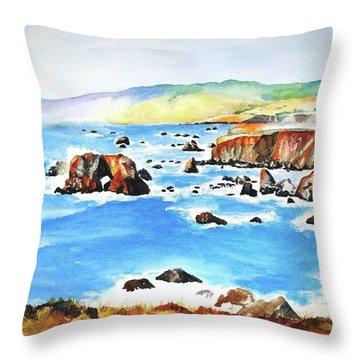 Arched Rock Sonoma Coast California Throw Pillow