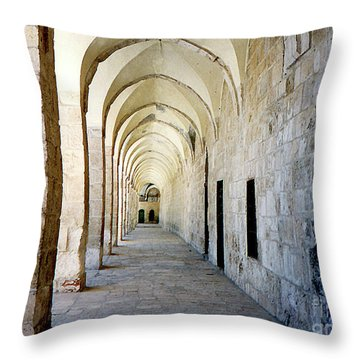 Arched Walkwayat A Church In Florence Italy Throw Pillow