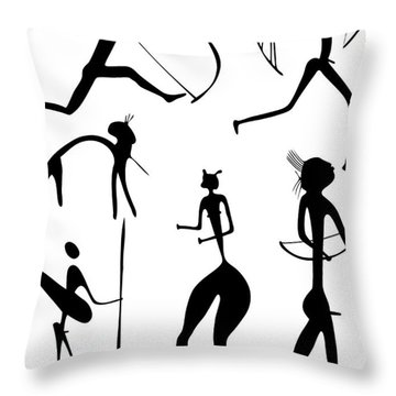 Archer And Other Figures Throw Pillow by Michal Boubin