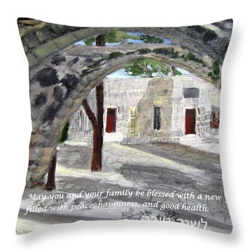 Throw Pillow featuring the painting Arches At Ein Hod by Linda Feinberg