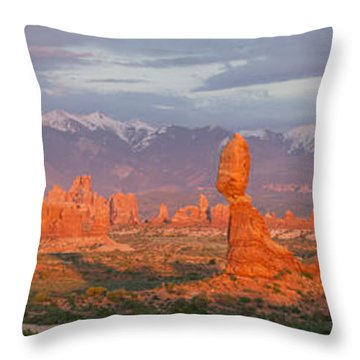 Throw Pillow featuring the photograph Arches National Park Sunset by Aaron Spong