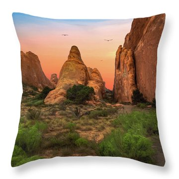 Arches National Park Sunset Throw Pillow