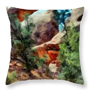 Arches National Park Trail Throw Pillow by Michelle Calkins