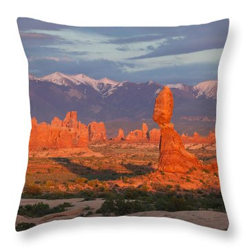Arches Sunset Throw Pillow by Aaron Spong