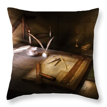 Architect - The Drafting Table  Throw Pillow by Mike Savad