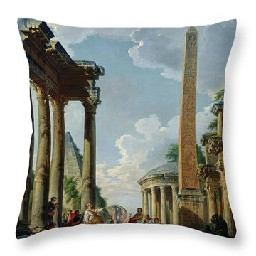 Architectural Capriccio With A Preacher In The Ruins Throw Pillow by Giovanni Paolo Pannini or Panini