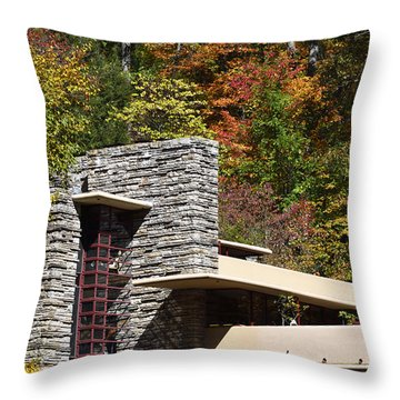 Architectural Detail Of Fallingwater -  Frank Lloyd Wright Throw Pillow