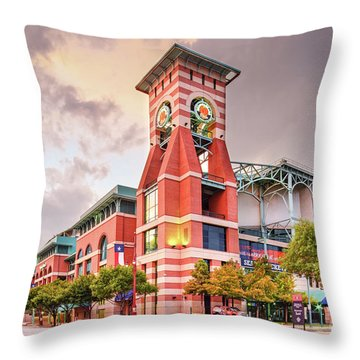 Architectural Photograph Of Minute Maid Park Home Of The Astros - Downtown Houston Texas Throw Pillow