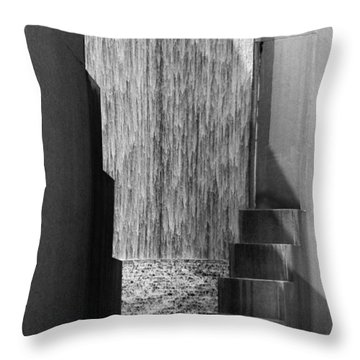 Architectural Waterfall In Black And White Throw Pillow