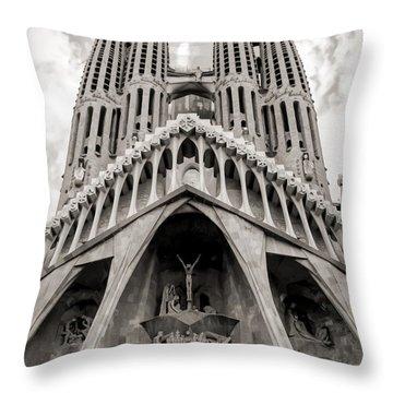Architecture Antoni Gaudi La Sagrada Familia Barcelona Spain Sepia  Throw Pillow