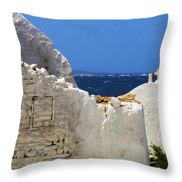 Throw Pillow featuring the photograph Architecture Mykonos Greece 2 by Bob Christopher