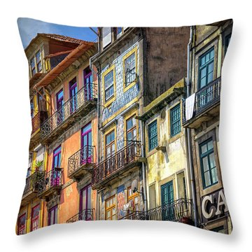 Architecture Of Old Porto Portugal  Throw Pillow