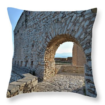 Archway In Palamidi Castle Throw Pillow