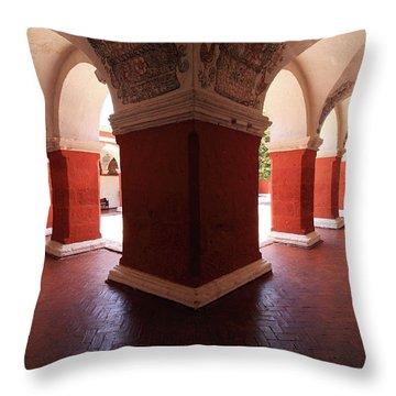 Throw Pillow featuring the photograph Archway Paintings At Santa Catalina Monastery by Aidan Moran
