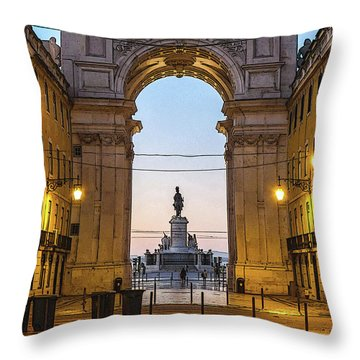 Arco Da Rua Augusta At Sunrise Throw Pillow