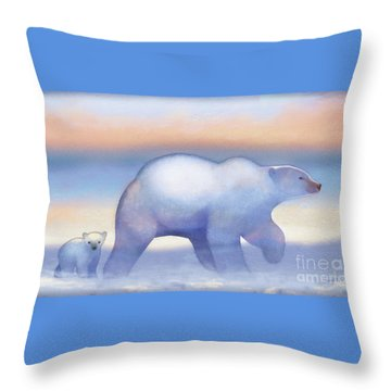 Arctic Bears, Journeys Bright Throw Pillow by Tracy Herrmann