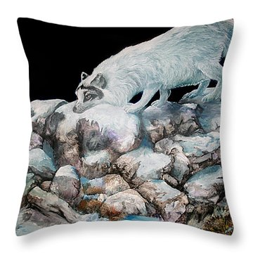 Throw Pillow featuring the painting Arctic Encounter by Sherry Shipley
