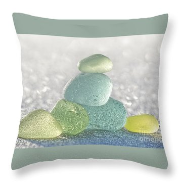 Arctic Spring Sea Glass Throw Pillow