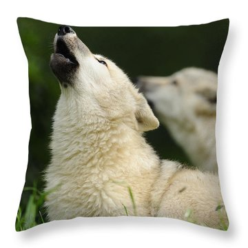 Arctic Wolf Howling Throw Pillow