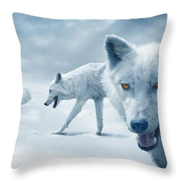 Arctic Wolves Throw Pillow by Mal Bray