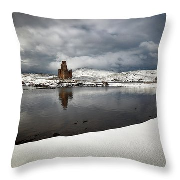Throw Pillow featuring the photograph Ardvreck Castle In Winter by Grant Glendinning